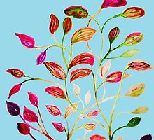 Red and Green Leaves on Light Blue by ANoelleJay