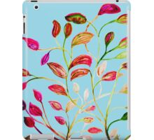 Red and Green Leaves on Light Blue iPad Case/Skin