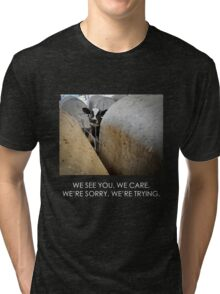 We see you. We care. (Image + text) Tri-blend T-Shirt