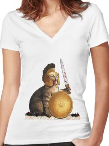 Spartan cat Women's Fitted V-Neck T-Shirt