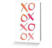 xoxo Watercolor Pink Orange Greeting Card