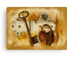 Heart Shaped Lock With Key Canvas Print