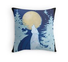Howling Wolf / Loup hurlant à la Lune Throw Pillow