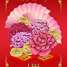 Chinese New Year Year With Peony, Fans, Gold Coins And Red Envelopes by Moonlake