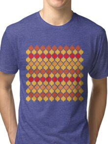 Red Yellow Exotic Moroccan Style Tiled Quatrefoil Pattern Tri-blend T-Shirt