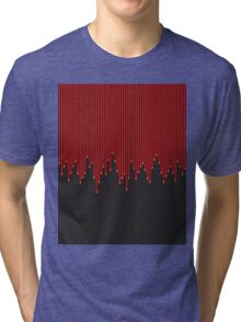 Red Paint Drips over Black Background Tri-blend T-Shirt