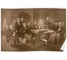 President Lincoln, His Cabinet, and General Scott Poster