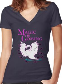 Magic is Coming! Women's Fitted V-Neck T-Shirt