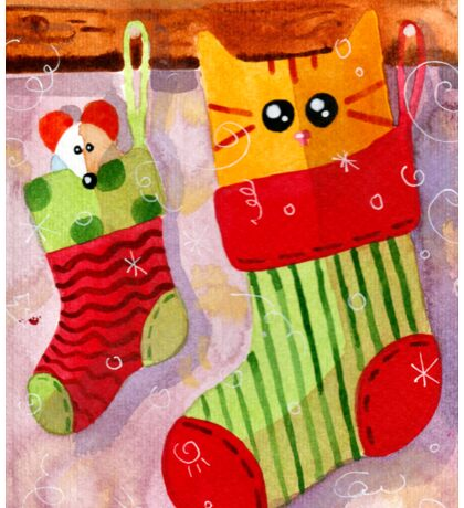 Christmas Red Cat and Mouse Sticker