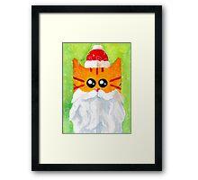 Christmas Red Cat Santa Framed Print