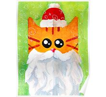 Christmas Red Cat Santa Poster