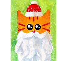 Christmas Red Cat Santa Photographic Print