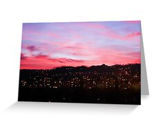 Red sunset night landscape Greeting Card