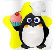 Baker Penguin With Cupcake Poster