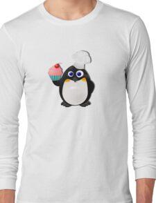 Baker Penguin With Cupcake Long Sleeve T-Shirt