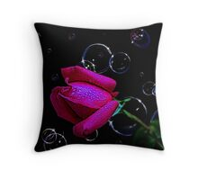 Beautiful morning rosebud, with bubbles Throw Pillow