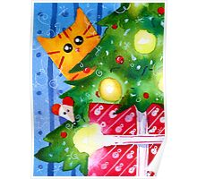Christmas Red Cat with Mouse and Christmas Tree Poster