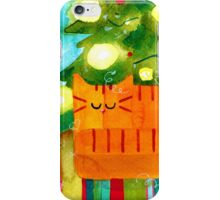 Christmas Red Cat with Christmas Tree iPhone Case/Skin