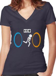 Portal toilet Women's Fitted V-Neck T-Shirt