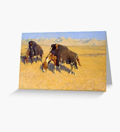 Indians Simulating Buffalo by Frederic Remington (1908) Greeting Card