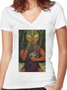 """Miss Morphing Mantis"" Women's Fitted V-Neck T-Shirt"