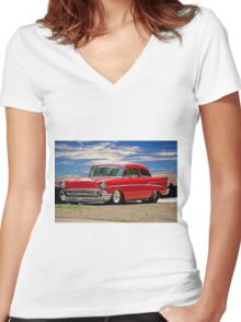 1957 Chevrolet M.Y.O.B. Coupe Women's Fitted V-Neck T-Shirt