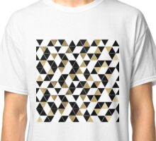 Modern Black, White, and Faux Gold Triangles Classic T-Shirt
