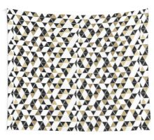 Modern Black, White, and Faux Gold Triangles Wall Tapestry