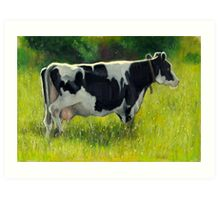 Holstein Dairy Cow in Oil Pastel No. 2 Art Print