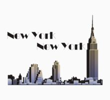 New York New York skyline retro 1930s style One Piece - Short Sleeve