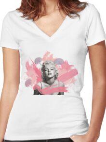 Marilyn Monroe- Celebrity watercolour  Women's Fitted V-Neck T-Shirt