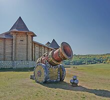 Royal cannon before the walls of the wooden Church by VallaV