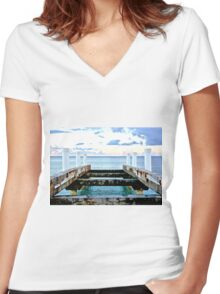 Sunset Pier at Grace Bay Women's Fitted V-Neck T-Shirt