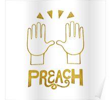 PREACH - Celebration Hands Gold Foil Emoji Art Poster