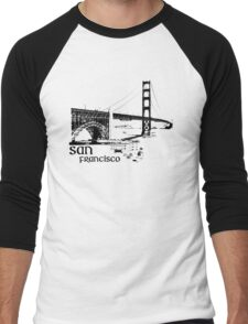 san francisco, golden gate bridge Men's Baseball ¾ T-Shirt