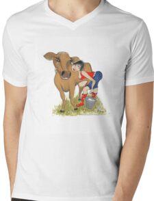 Dairy Cow Girl Mens V-Neck T-Shirt