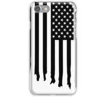 Black and white american flag - dripping iPhone Case/Skin