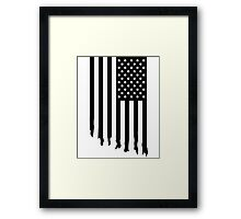 Black and white american flag - dripping Framed Print