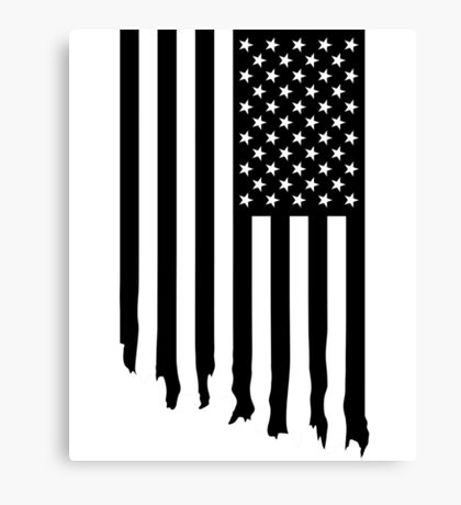 Black and white american flag - dripping Canvas Print