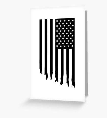 Black and white american flag - dripping Greeting Card