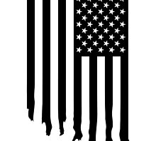 Black and white american flag - dripping by Supreto