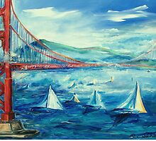 San Francisco golden gate bridge sailing day by schiabor