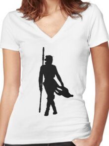 Rey Silhoutte (Black) Women's Fitted V-Neck T-Shirt