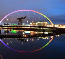 Glasgow Clyde Arc Bridge at Sunset by Maria Gaellman