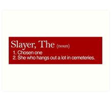 Slayer, The Definition (white type) Art Print