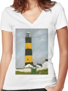 St. John's Point Lighthouse Women's Fitted V-Neck T-Shirt