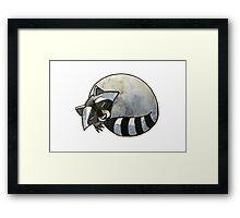 Cute watercolor sleeping raccoon Framed Print