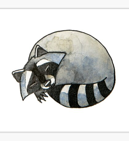 Cute watercolor sleeping raccoon Sticker