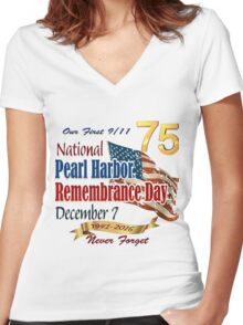 Pearl Harbor Day 75th Anniversary Logo Women's Fitted V-Neck T-Shirt
