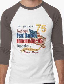 Pearl Harbor Day 75th Anniversary Logo Men's Baseball ¾ T-Shirt